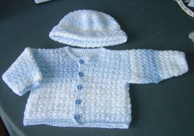Blue Baby Boy Crochet Cardigan And Hat The Blue