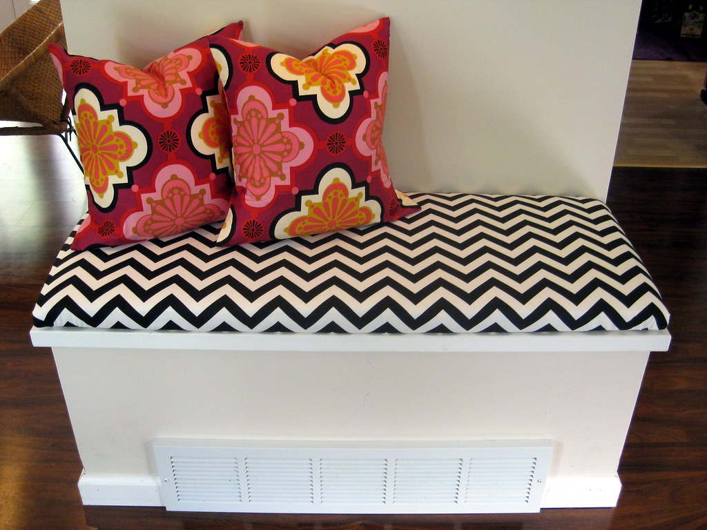 diy bench cushion and throw pillows this awkward little sp flickr. Black Bedroom Furniture Sets. Home Design Ideas