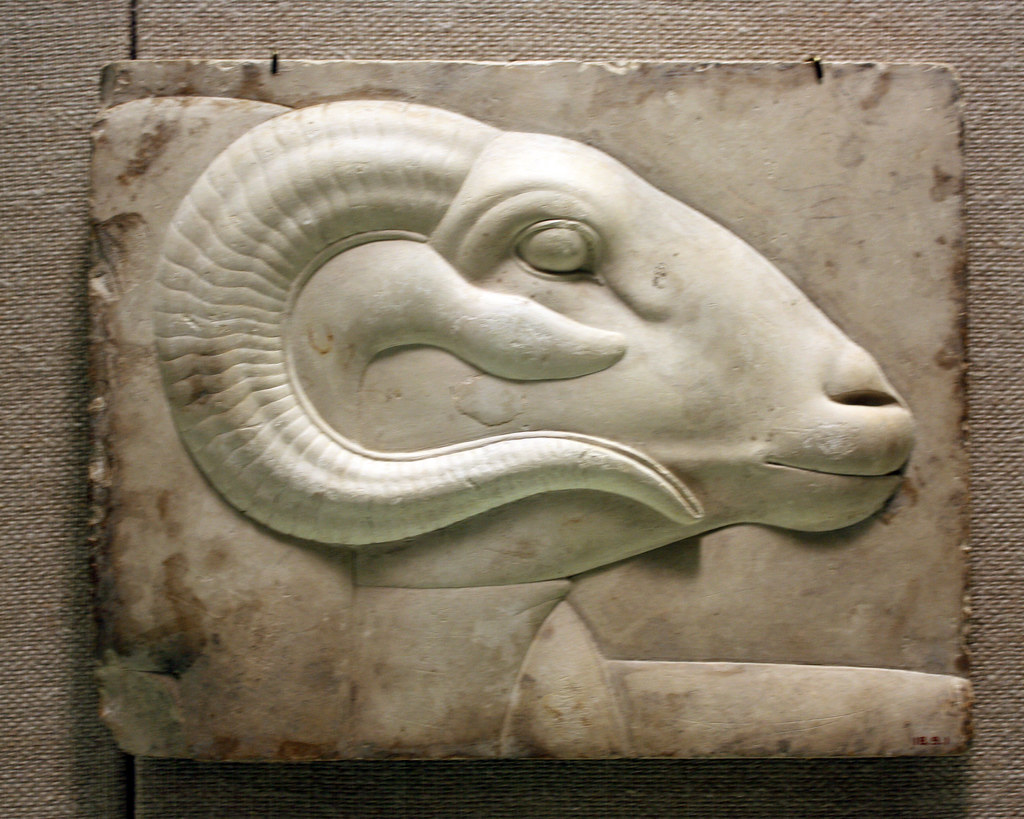 Relief Plaque With Ram S Head From A God S Figure Relief