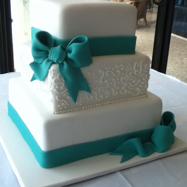 Teal Bow Wedding Cake Three Tiered Square Wedding Cake