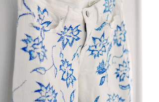 blue and white floral print jeans  DIY | by ...love Maegan