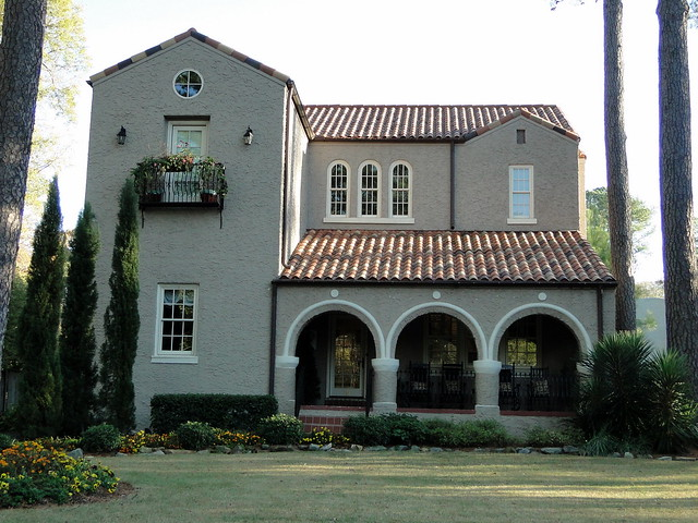 Spanish mission style home homewood alabama clyde for Spanish colonial exterior paint colors