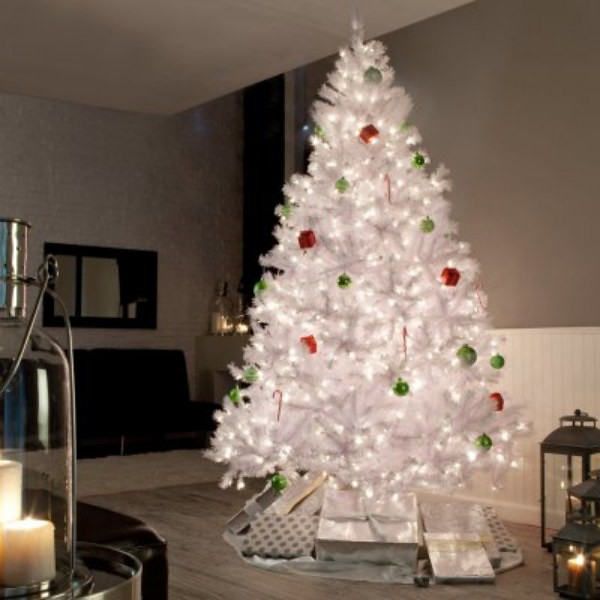 Rbol de navidad blanco iluminado abeto articial de - Arboles de navidad blanco ...