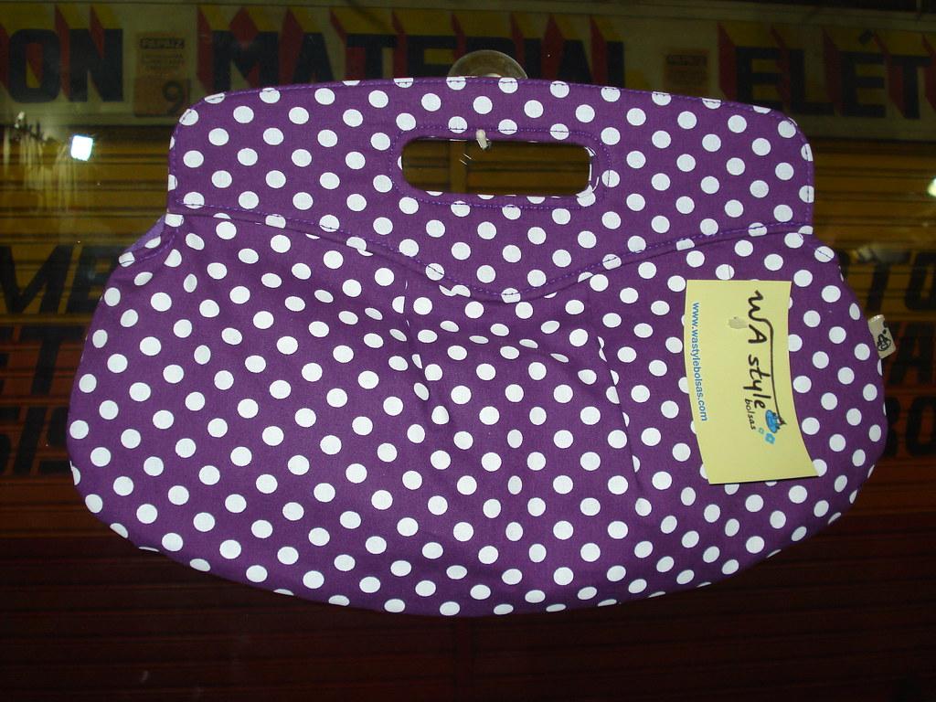 Bolsa De Tecido Com Fecho : Bolinhas roxa bolsa de m?o em tecido algod?o fecho