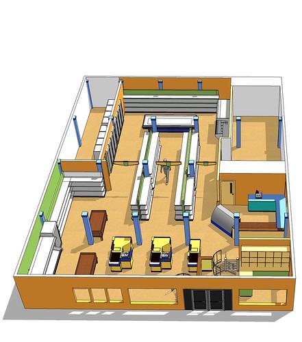 Market space planning interior market design custom market decor design 3d design - Small retail space design decoration ...