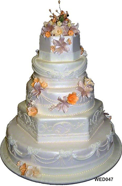 WED047 Ivory Multi Shaped Tiers Wedding Cake With Swags And Monogram 75