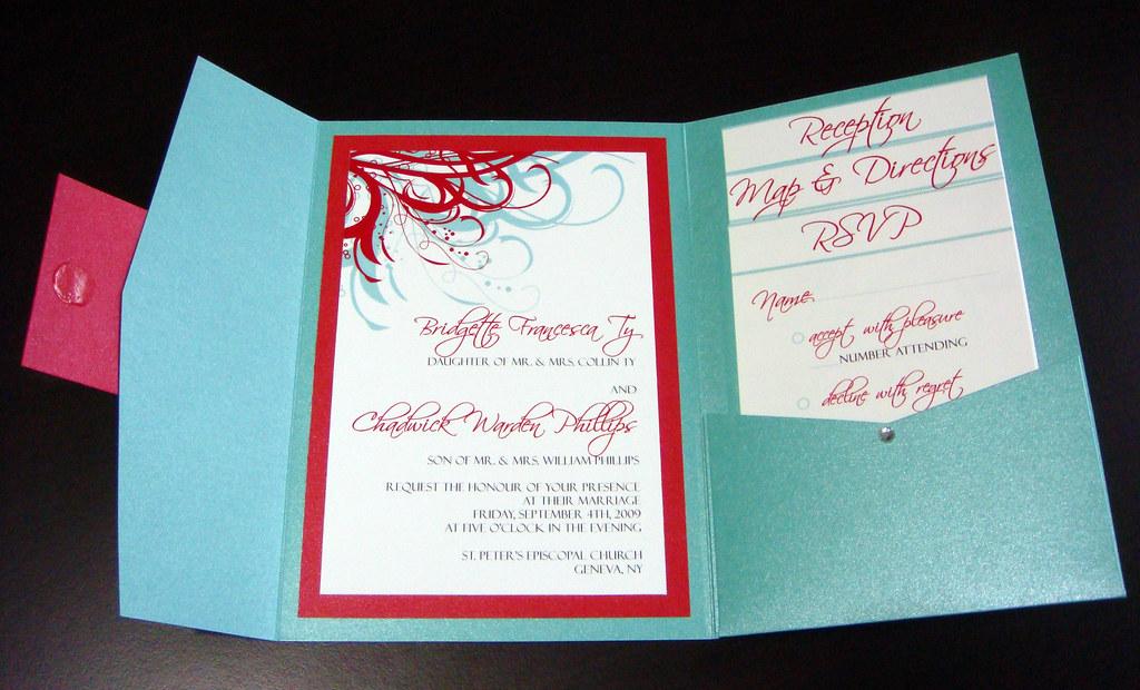 Aqua Tiffany Blue And Red Wedding Invitations Please