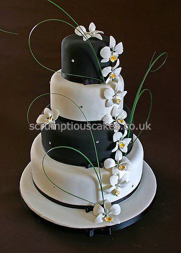 Wedding Cake 693 Black Amp White Orchids A 4 6 8