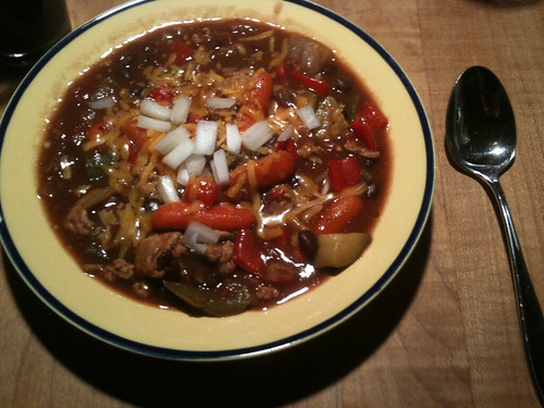 Andy's black bean chipotle cinnamon pale ale turkey chili | by andycarvin