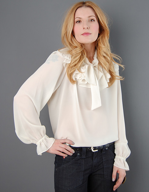 White Blouse With Ruffle Collar