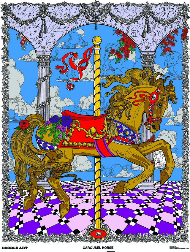 Doodle Art Carousel Horse Coloring Page Poster
