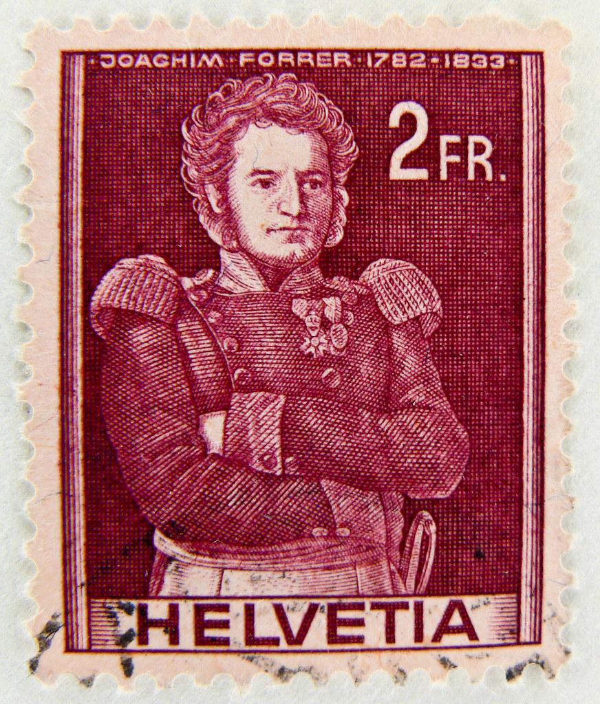 stamp helvetia 2 fr postage suisse timbre swizz schweiz br