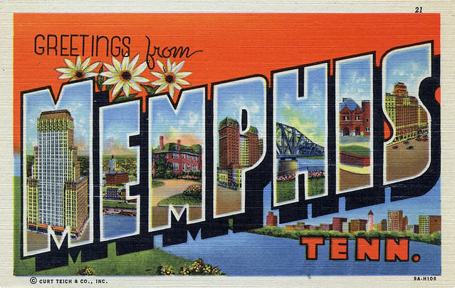 greetings from memphis tennessee large letter postcard