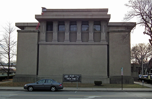 unity temple exterior designed in 1906 by frank lloyd w