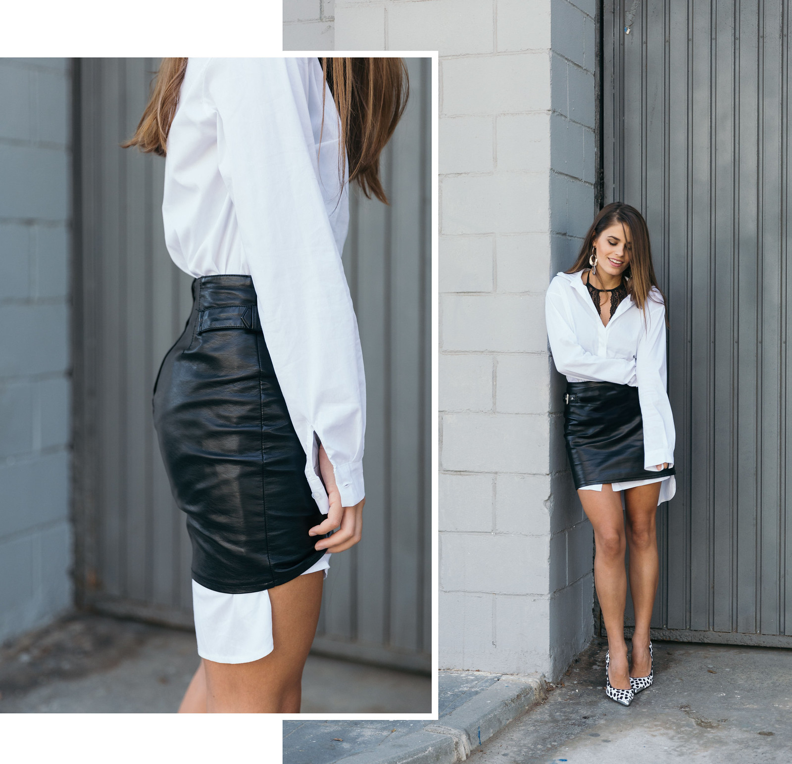Jessie Chanes Seams for a desire - The Amity Company Oversized White Shirt Faux Leather Skirt Short Parka -4