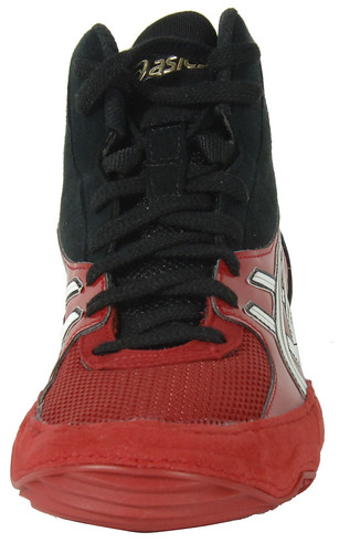 Asics Cael V4.0 Wrestling Shoes in Black, Red, and White 3 | by wrestlinggear