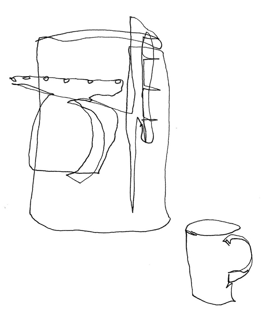 Contour Line Drawing Jobs : Coffee mug blind contour two one line