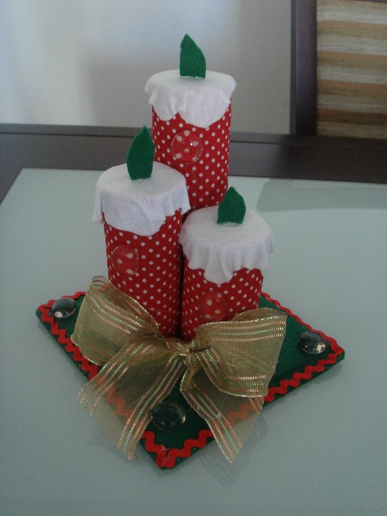Cd vela de natal trio base quadrada reciclando 7 - Base de vela ...