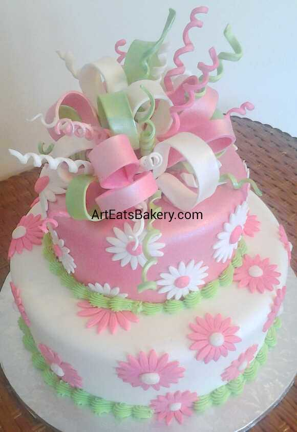Girl S Pink White And Green Daisy Flowers And Edible Ribb