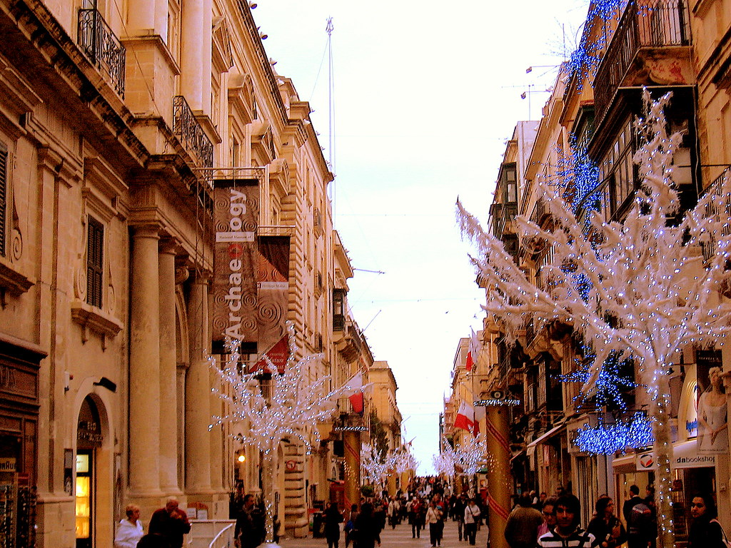 christmas shopping in republic street  valletta malta