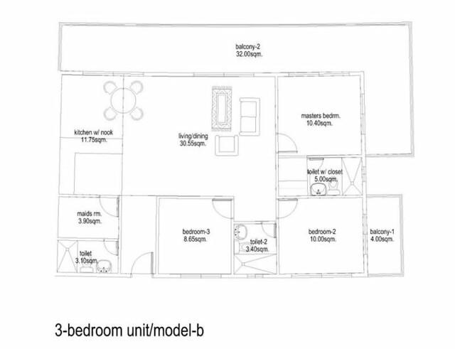Cliffside condo floor plan for studio type 3 b copy for Studio type condo floor plan