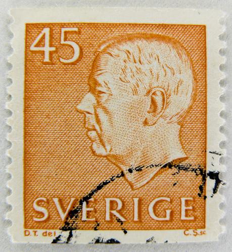 beautiful stamp sweden 45 re gustaf adolf vi postage. Black Bedroom Furniture Sets. Home Design Ideas