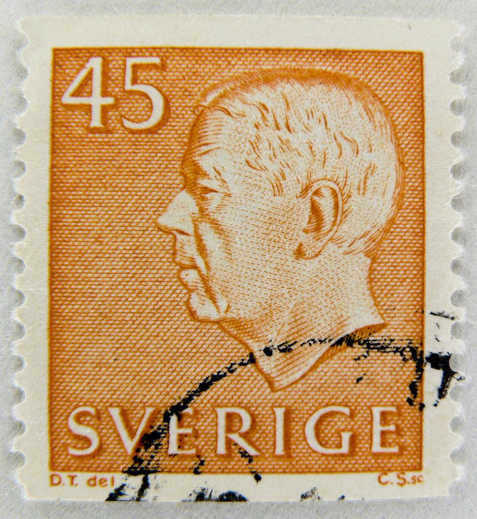 beautiful stamp sweden 45 re gustaf adolf vi postage bri. Black Bedroom Furniture Sets. Home Design Ideas