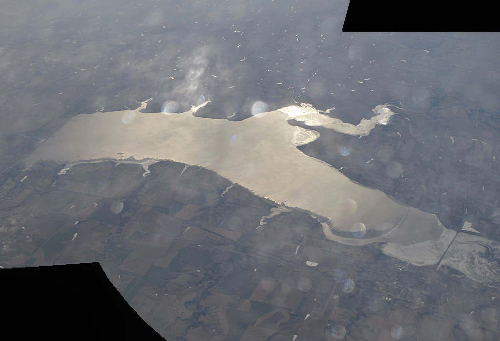 Harlan County Lake | Two shot panorama from about 39500ft ...