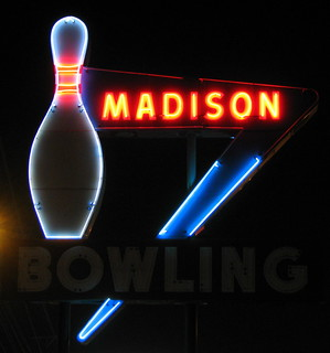 Madison Bowling sign at Night