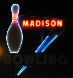 Madison Bowling sign at Night
