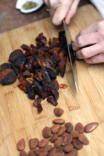 chopping apricots & almonds | by David Lebovitz