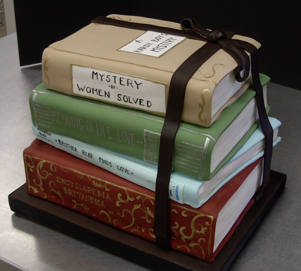 stack of books groom s cake Robyn Van Tuyl Flickr