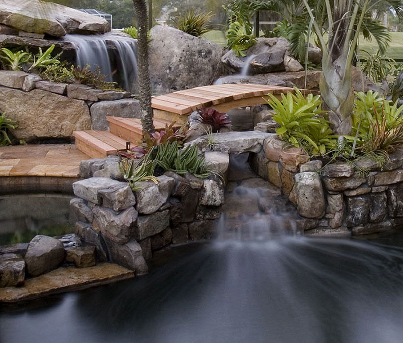 Stone Waterfalls Backyard