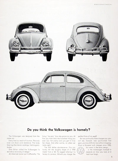 1961 Volkswagen Beetle Ad - USA | Covers a face lifted Volks… | Flickr