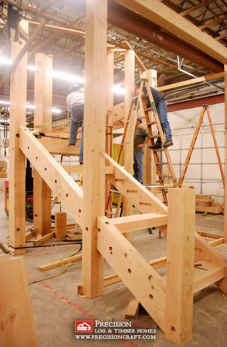 Timber frame stairs flickr photo sharing for Timber frame house construction