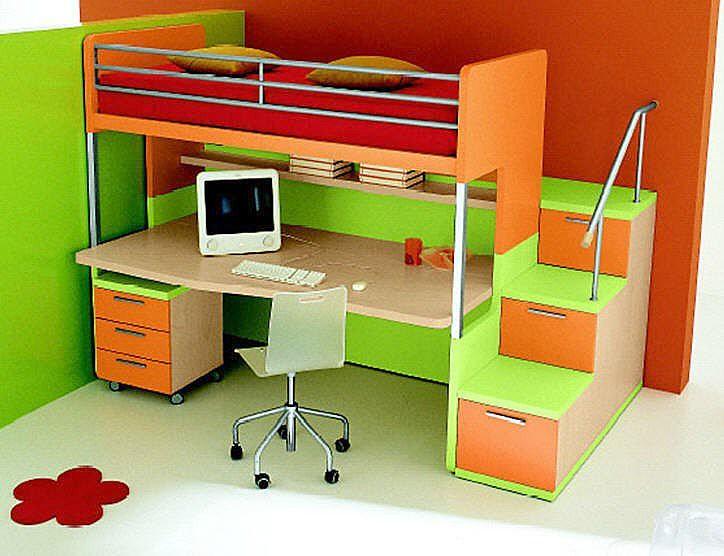 Cama alta infantil con escritorio 144675 2 - Camas con escritorio debajo ...