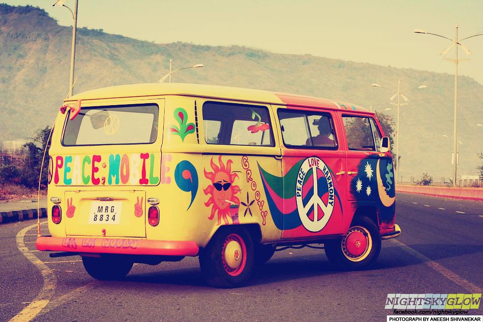 flower power volkswagen microbus automotive the hippie. Black Bedroom Furniture Sets. Home Design Ideas
