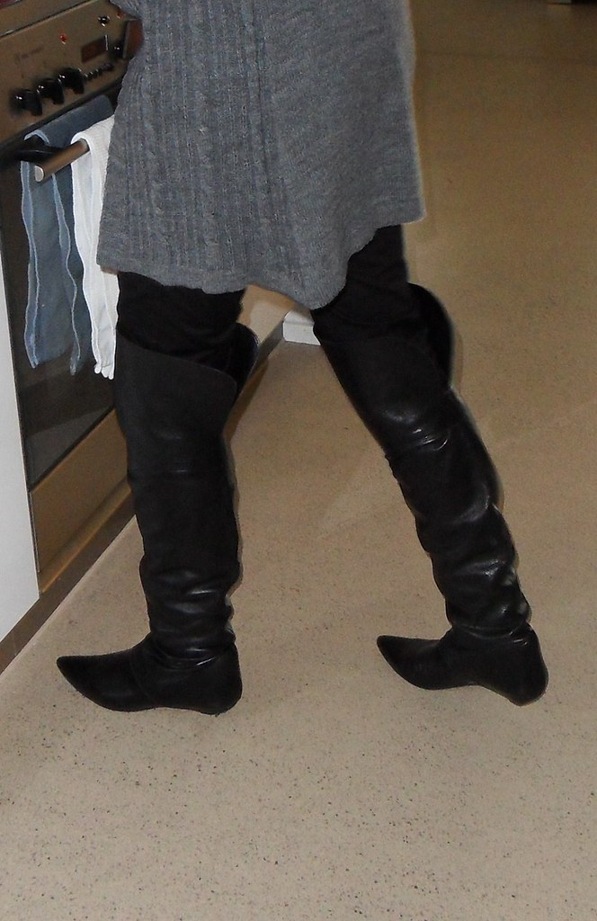rosina home rosina in thigh high boots at home