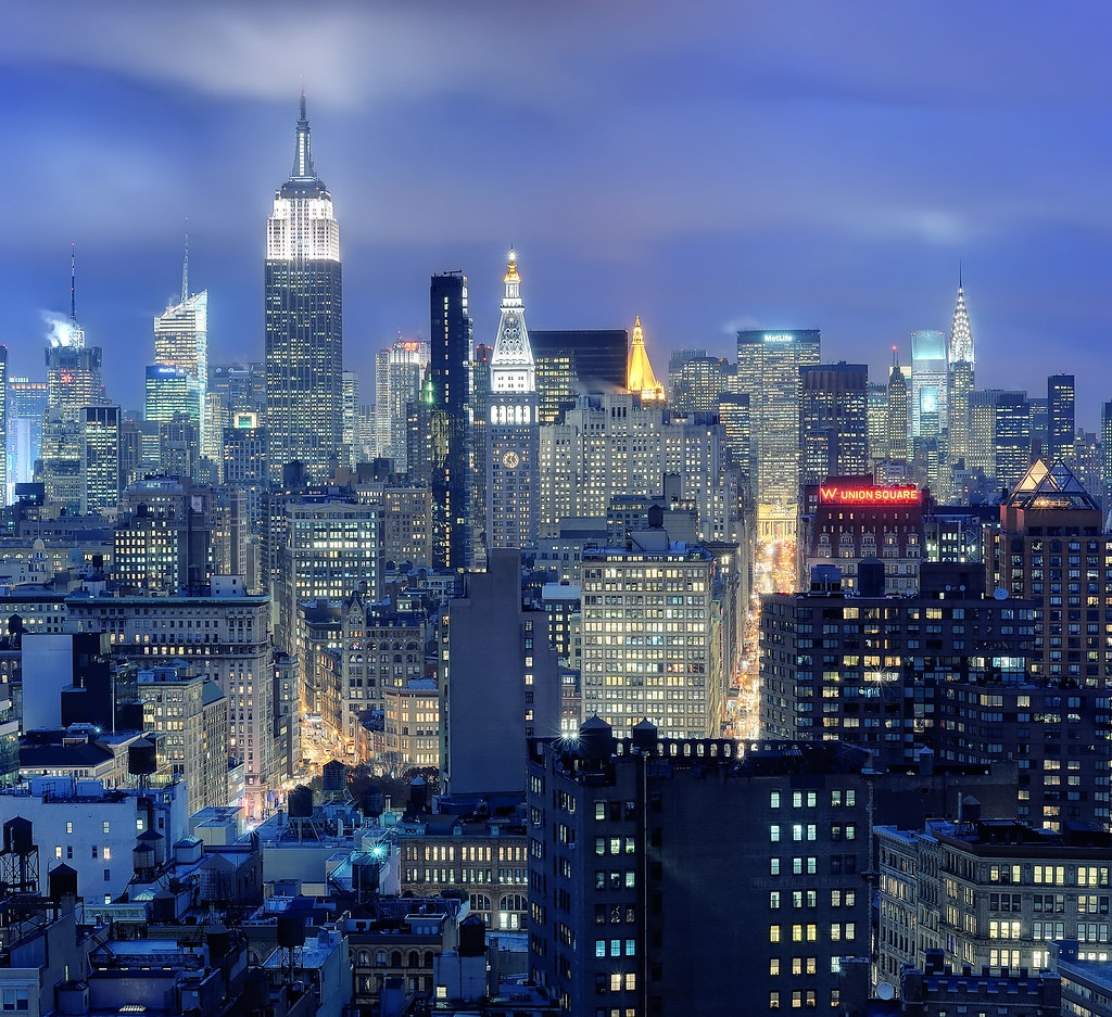 Manhattan New: Midtown Manhattan And NoHo At Twilight, New York City