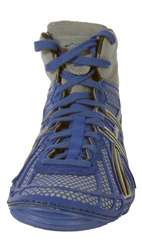 Asics Dan Gable Ultimate 2 Wrestling shoe in Blue, Silver, and Black 4 | by wrestlinggear