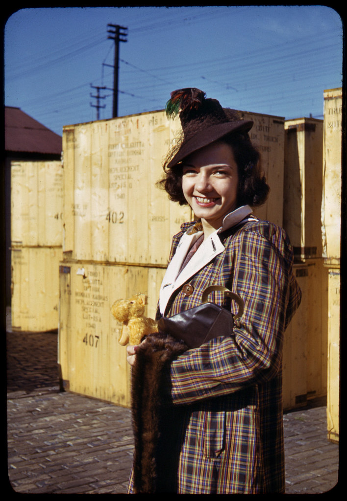 1940 Kodachrome Gal I See A Notice On The Dwayne S Photo