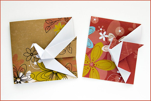 Origami greeting cards flickr photo sharing for How to make folded christmas cards