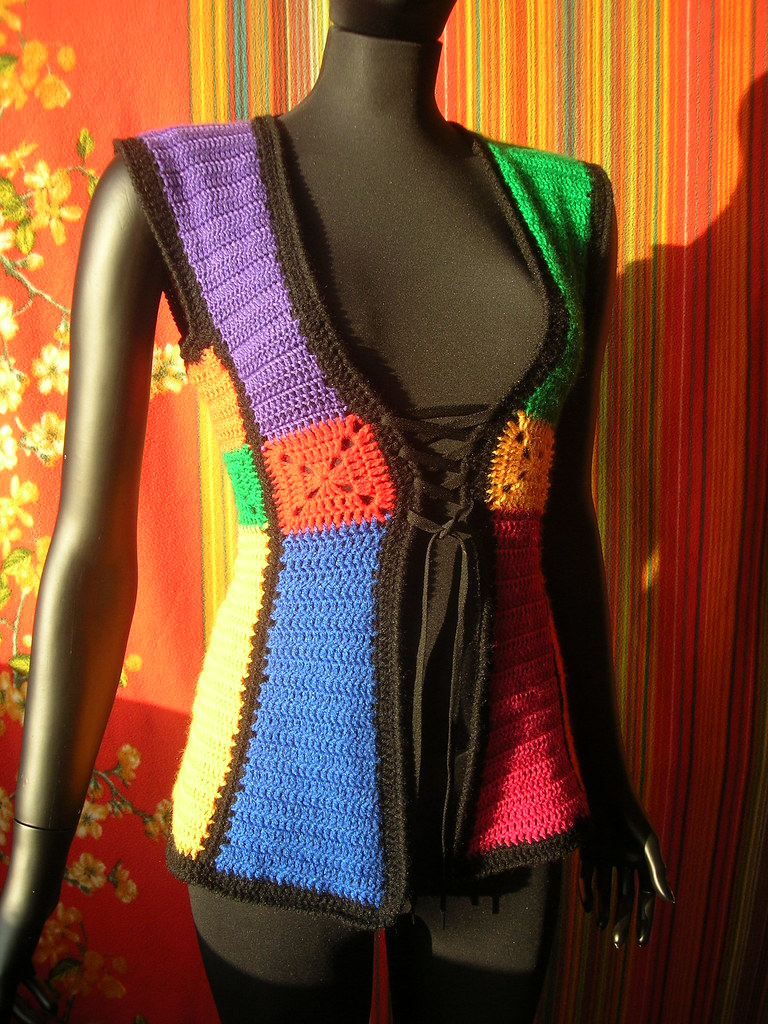 Stained Glass Shaped Granny Squares Vintage Crochet Vest ...