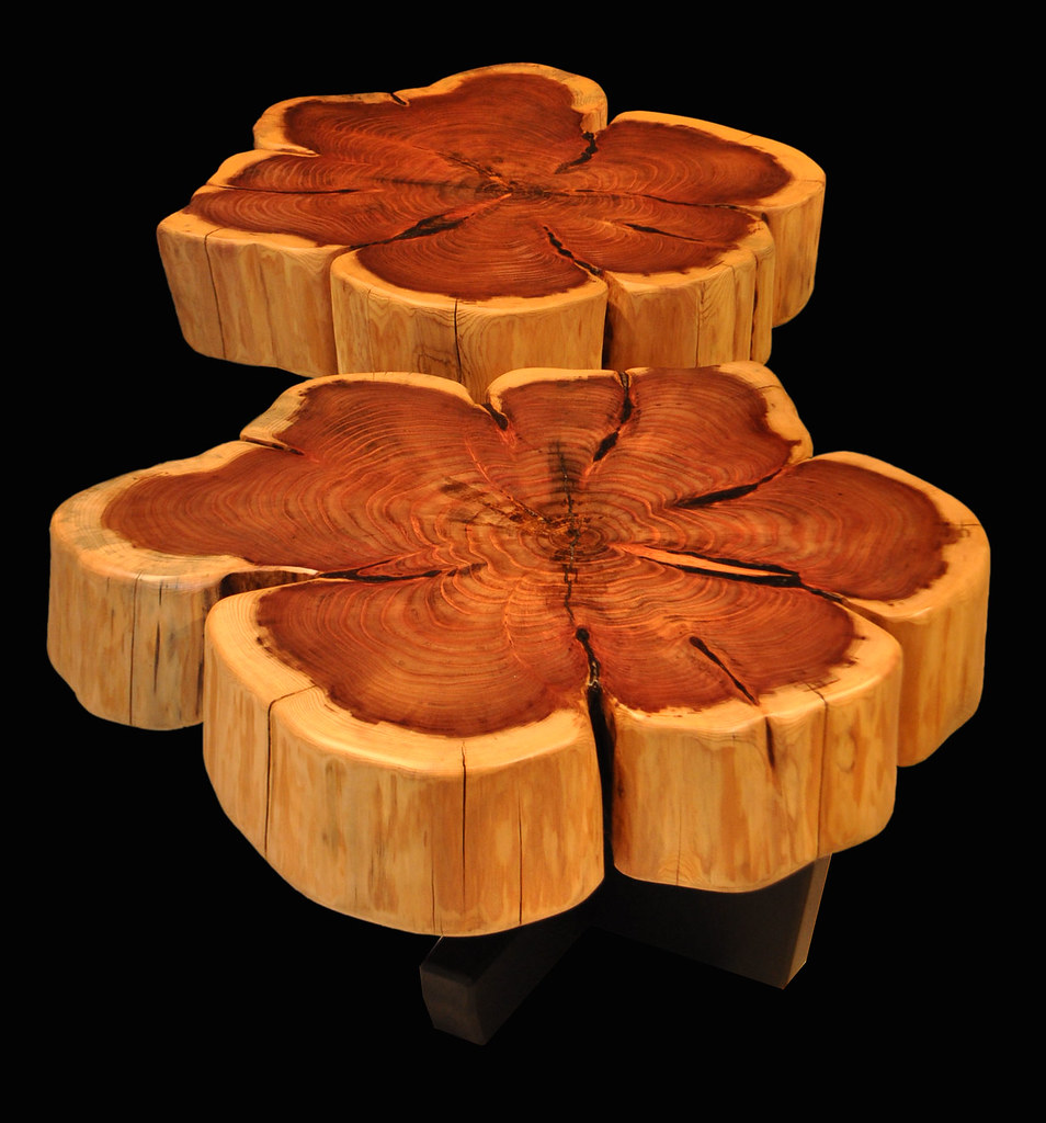 White Tree Stump Coffee Table: Giant Sequoia With Flower Burl Pattern Tree Trunk Tables B