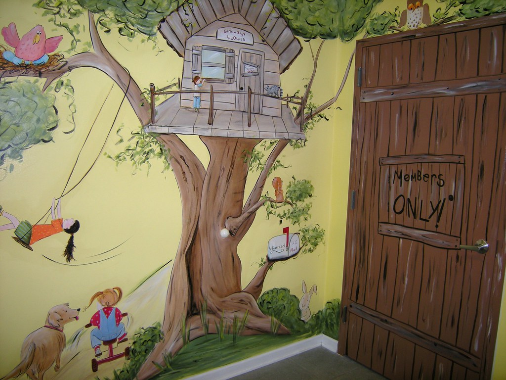 Tree House Children S Day Care Mural Whimsical Animals
