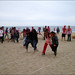 Holi on the beach: three-legged race