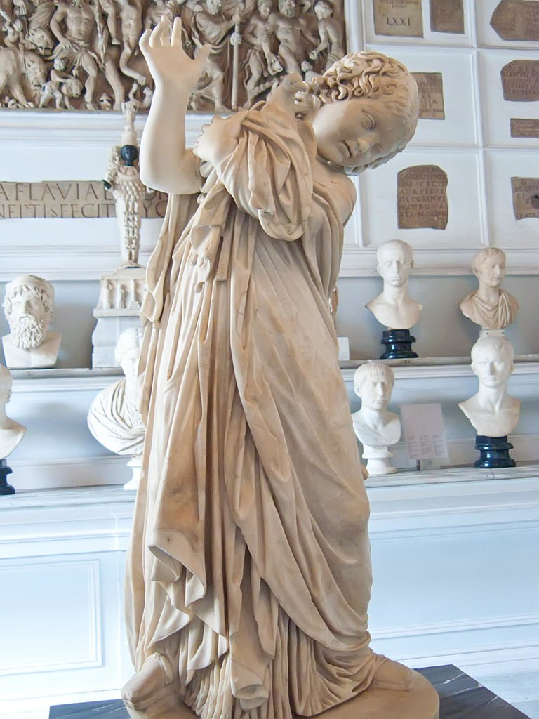 Statue Of Young Girl With Dove Roman Copy Of Hellenistic O