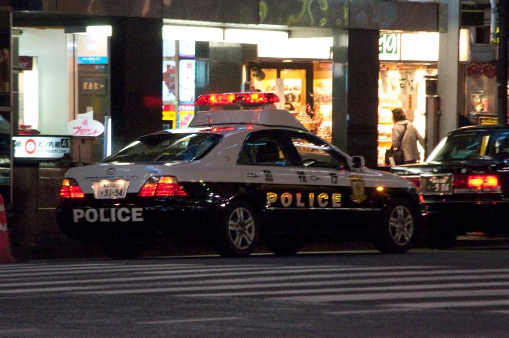 back of police car back a police car in ginza flickr. Black Bedroom Furniture Sets. Home Design Ideas