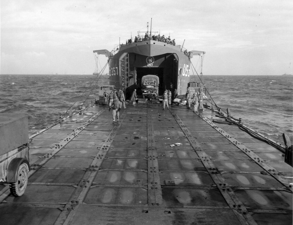 A Rhino Ferry Married To An Lst During The Normandy Invasi