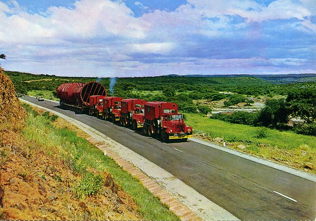 Postcard  Abnormal Load Transport With Mack Dm800 Tractors